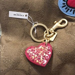 Coach key fob/chain pink hearts gold sparkle NWT's